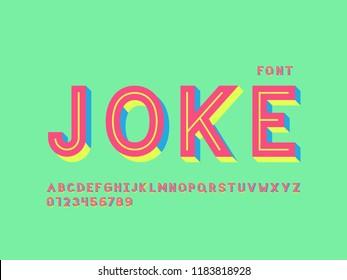 Joke font. Vector alphabet letters. Typeface design.