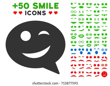 Joke Smiley Message icon with bonus smile pictograph collection. Vector illustration style is flat iconic elements for web design, app user interfaces.