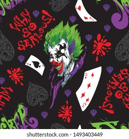 joker and card seamless pattern typhography with colorful  and background