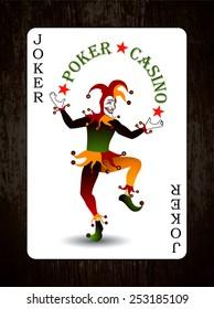Joker card. Vector background. Wood texture.