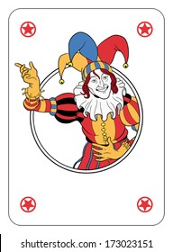 Joker coming out of circle playing card