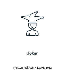 Joker concept line icon. Linear Joker concept outline symbol design. This simple element illustration can be used for web and mobile UI/UX.