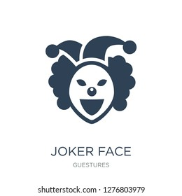 joker face icon vector on white background, joker face trendy filled icons from Guestures collection, joker face vector illustration