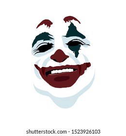 Joker face on white background. vector perfect fit for white tshirt print, poster or any other possible purpose.