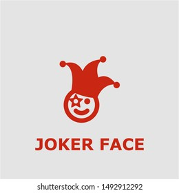 Joker face symbol. Outline joker face icon. Joker face vector illustration for graphic art.