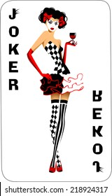 Joker game card with the image of the red and white joker, vector