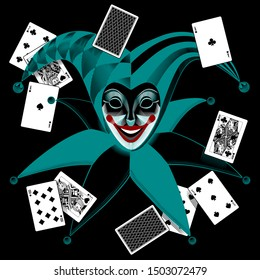 Joker head in retro style with playing cards on the black background. Vintage engraving linear negative stylized drawing. Vector illustration