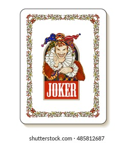 Joker playing card design. Men in joker costume. Colored vector illustration.