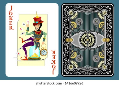 joker playing card, game tools. Clown sits on a flank. Character on steampunk style
