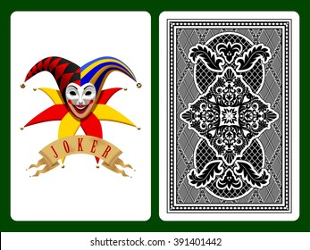 Joker playing card on black and backside background. Original design. Vector illustration