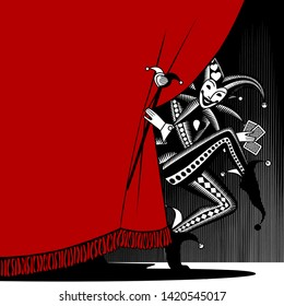 Joker playing card peering out from behind the red curtain. Vintage engraving stylized drawing. Vector illustration