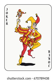 joker playing card with red and golden costume