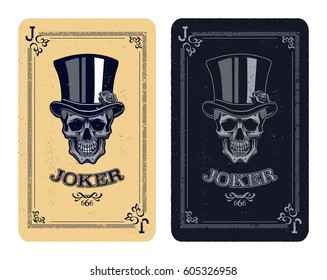 Joker playing card. skull poker card vector illustration