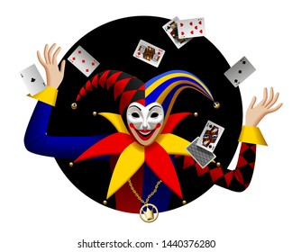 Joker with playing cards in black round frame. Three Dimensional stylized drawing. Vector illustration