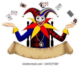 Joker with playing cards on the chair with a retro parchment banner isolated on white. Three Dimensional stylized drawing. Vector illustration