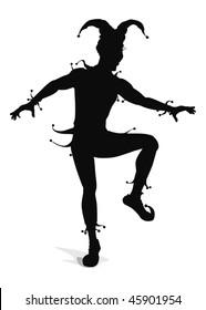 Joker silhouette, vector