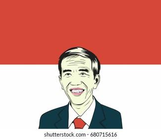 Joko Widodo, Jokowi. Indonesian President. Vector Drawing Illustration. July 20, 2017.