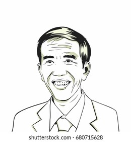 Joko Widodo, Jokowi. Indonesian President. Line Art Vector Drawing Illustration. July 20, 2017.