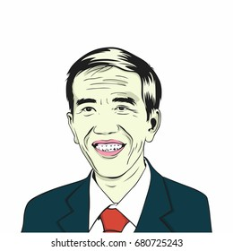 Joko Widodo, Jokowi. Indonesian President. Vector Drawing Illustration. July 20, 2017.