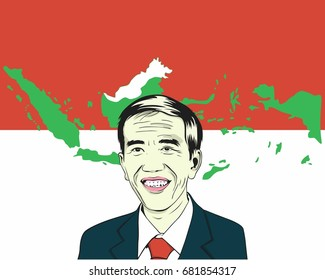 Joko Widodo, Jokowi. President of Indonesia with Flag Background and Indonesian Map. Vector Design Drawing Illustration. July 22, 2017.