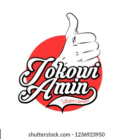 jokowi amin salam satu jari logo with thumb up design has mean peace for leader with thumb up design