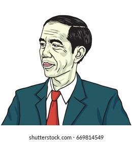 Jokowi Joko Widodo. Color Portrait Drawing Vector Illustration. July 1, 2017