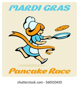 Jolly agile woman cook reaches the finish tape during a Shrove Tuesday, flipping a pancake in a frying pan. Original mascot and font in the text 'Mardi Gras' and 'Pancake Race'. Colored cartoon.