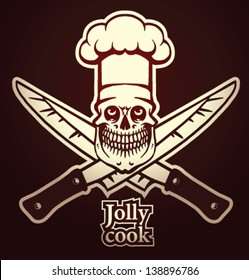 Jolly cook emblem with knife, vector