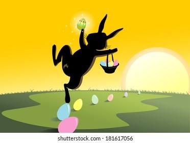 Jolly Easter Rabbit hopping on the horizon