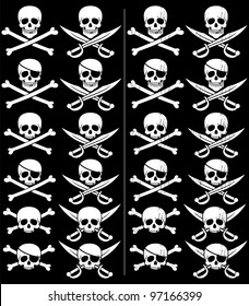 Jolly Roger: Jolly Roger in 24 different versions. Those on the right are with grunge effect. No transparency and gradients used.