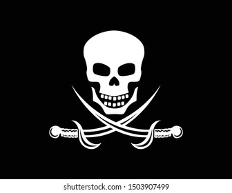 Jolly Roger. Black pirate sea flag with a skull and sabers. Vector flat image.