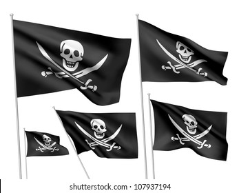 Jolly Roger (Calico Jack Rackham) vector flags. A set of 5 wavy 3D flags created using gradient meshes.