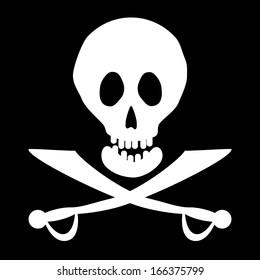 Jolly Roger flag. Vector illustration.