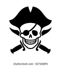 Jolly Roger. Human skull and cross swords