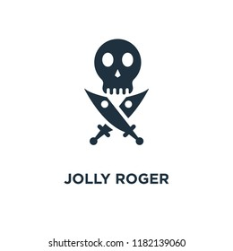 Jolly roger icon. Black filled vector illustration. Jolly roger symbol on white background. Can be used in web and mobile.