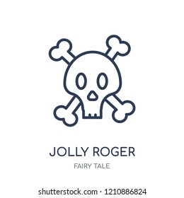 Jolly roger icon. Jolly roger linear symbol design from Fairy tale collection. Simple outline element vector illustration on white background.