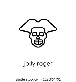 Jolly roger icon. Trendy modern flat linear vector Jolly roger icon on white background from thin line Fairy Tale collection, editable outline stroke vector illustration