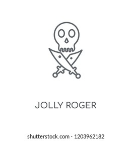 Jolly roger linear icon. Jolly roger concept stroke symbol design. Thin graphic elements vector illustration, outline pattern on a white background, eps 10.