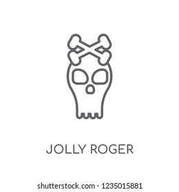 Jolly roger linear icon. Modern outline Jolly roger logo concept on white background from Fairy Tale collection. Suitable for use on web apps, mobile apps and print media.