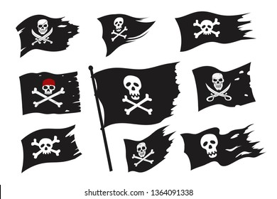 Jolly Roger Pirate Flag Set. Skeleton in Red Bandana, Eyepatch With Crossbones, Skull with Sword. Robber Black Flags Set. Cartoon Vector Illustration