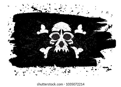 Jolly roger Pirate flag with a skull. Vector illustration.