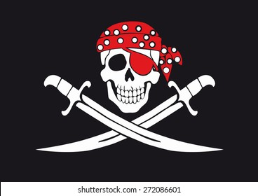 Jolly Roger pirate flag with skull and swords in bandanna