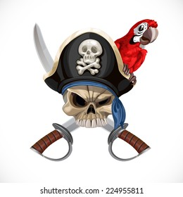 Jolly Roger in pirate hat and with sabers and red parrot