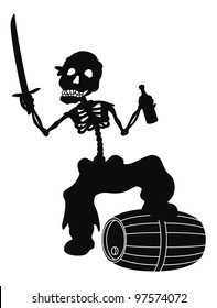 Jolly Roger, pirate - zombie skeleton with a saber, a bottle of wine and a barrel, black silhouette on white background. Vector