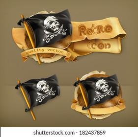 Jolly Roger, retro vector icon