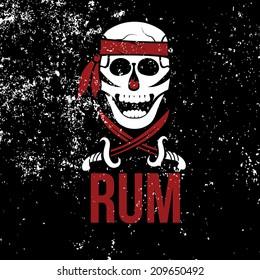 jolly roger rum on grunge background