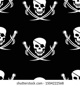 Jolly Roger. Seamless pattern with the image of a skull with sabers on a black background