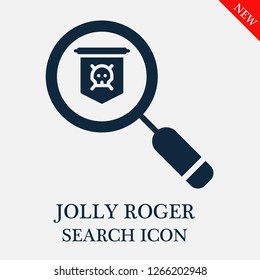 Jolly roger search icon. Jolly roger icon in magnifier icon. Editable Jolly roger search icon for web or mobile.
