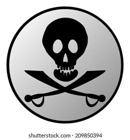 Jolly Roger sign button on white background. Vector illustration.