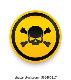 Jolly Roger Sign. Skull and Bones Sign. Danger Alert.